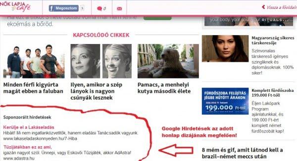 Google Hirdetés a Nők lapján